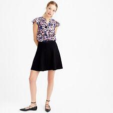 Size 4 - J.CREW Women's Black Double Crepe A-Line Mini Skirt