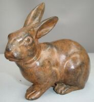 Statue Lapin Lievre Animalier Chasse Style Art Deco Bronze massif Signe