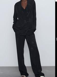 BNWT Zara Black Jacquard Tiger Etched Jacket Trouser Suit Size L