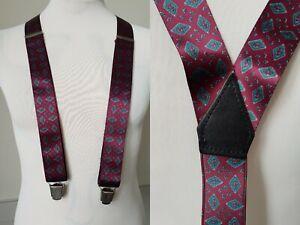 Vintage Patterned Y Fit Silky Feel Clip On Braces Suspenders TK87