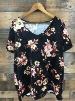 MTS Women's Black Velour Floral V-Neck Tunic Top Size 1x