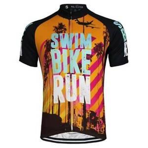 Swim Bike Run Orange Summer Cycling Jersey cycling Short Sleeve Jersey
