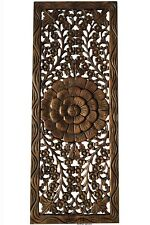 """Asian Carved Wood Wall Decor Panel. Floral Wood Wall Art. Dark Brown 35.5""""x13.5"""""""