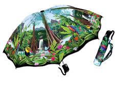"Rain Forest Toucan Parrot Bird Flower Compact Auto Open Umbrella 42"""