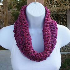 SUMMER COWL SCARF Pink, Blue, Purple Small Short Crochet Knit Soft Neck Warmer