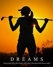 Women's Golf Motivational Poster Art Golf Shoes Balls Shorts Clubs Shirts MVP268