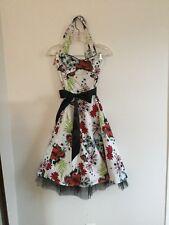 Vintage style Halter summer dress Rockabilly Skull US 8 UK 12 Butterfly retro