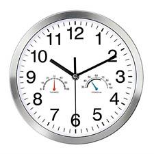 YUNDO Wall Clock with Temperature & Humidity Non-Ticking Number Quartz Design