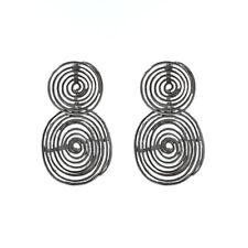 Ohrringe Stecker Silber grau gemeißelt groß Runde Spitze Metall AA23