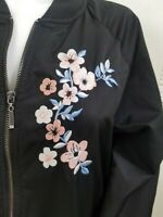 Madden NYC Women's Size L Floral Embroidered Track Jacket Black Long Sleeve Zip