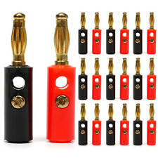 VOSO Gold Plated Speaker Audio Jack Connector Banana Plug P20 10 Red 10 Black