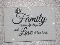 Diamond Embellished Sparkly glitter Family canvas! Mother's day.
