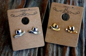 Vintage Cowgirl Small Metal Cowboy Hat Stud Earrings - Gold or Silver Burnished