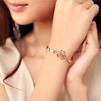 Frauen Schmuck überzogene hohle Rose Carving Kristall Armbänder AB