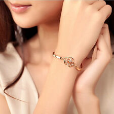 Chic Women Hand Jewelry Gold Plated Hollow Rose Carving Crystal Bracelets M0