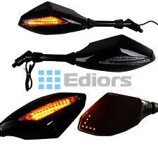 Motorcycle Cruiser LED Turn Signal Rearview Mirrors Universal 8-10mm Smoke Lens
