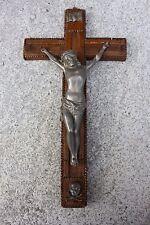 XL Large Antique Wooden Tramp art Cross Wall hanging Crucifix Art Brass Corpus