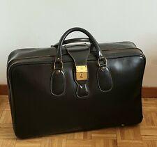Valise en cuir noir Louise Fontaine vintage suitcase