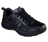 Skechers Black Shoes Men Memory Foam Sporty Casual Comfort Leather Oxford 66299
