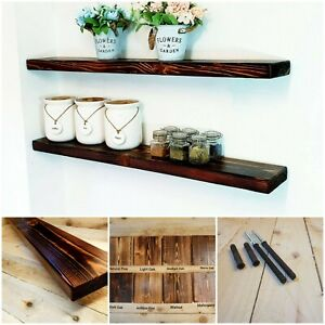 Rustic Burned Floating shelf shelves includes brackets Handmade In UK