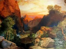 Authentic Antique Lithograph - FIRE VALLEY (Moran) - Rare Vintage Art