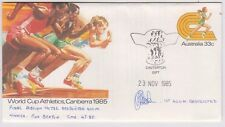 Stamp 1985 World Cup Athletics PSE CASTERTON Gift Victoria signed Ron Beaton