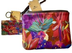 New Patricia Nash Cassini Leather Wristlet Clutch Bag Varenna ID Key Case Set