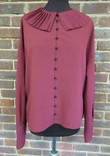 Topshop Ladies Burgandy Pleated Collar Blouse Size UK 12 BNWT