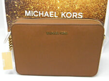 New Michael Kors Luggage Saffiano Leather Gold East West Crossbody Purse $228