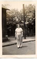 Woman Stands By Crossroad Lazelle & Kossuth Street Signs COLUMBUS OH 1940s Photo