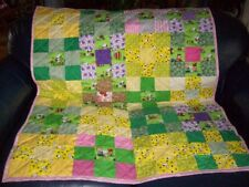 "Handmade Baby Girl Crib Quilt, Charlie Brown & Friends w. Prints, 40.5"" x 51"""
