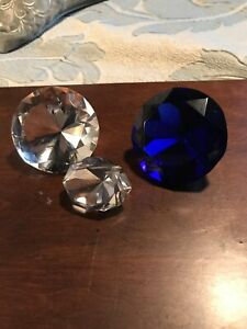 Set Of 3 Glass Diamond Shaped Crystal Paperweights 2 Clear 1 Cobalt Blue Signed