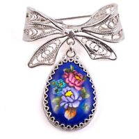 Bow Brooch with Flowers Blue Hand Painted in Russia Finift Gift Box Pin