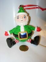 CHRISTMAS TREE ORNAMENT SANTA CLAUS HOLIDAY DECOR RED WHITE GREEN TOY PLASTIC 3""