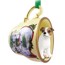Jack Russell Terrier Christmas Ornament Teacup Brown/White Smooth