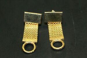 Vintage Dante Gold Bar Cufflinks With Wrap Around Mesh Business Professional