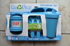 New Re-Play Re Play Blue Childrens Tableware Set Made in USA of Recycled Plastic