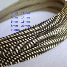 Gold+Black Braided Cable Sleeving/Sheathing/Auto Wire Harnessing PET 3mm-20mm
