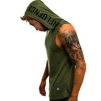 Men Vest T Shirt Muscle Hoodie Tank Top Bodybuilding Gym Workout Sleeveless