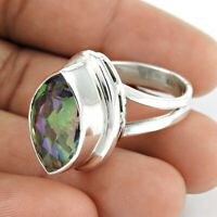 Marquise Shape Mystic Topaz Gemstone Ring Size S 925 Sterling Silver Jewelry L4