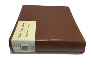 "Pocket Photo Album 4"" X 6""  Holds 200 Photos 85% Leather Brown New Memo Area"