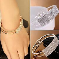 Elegante Frauen Armreif Armband Armband Kristall Strass Manschette Bling La  %I