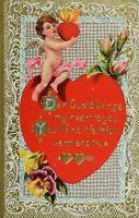 Circa 1910 Valentine Cute Cherub Hearts Flowers Poem Vintage Postcard P59