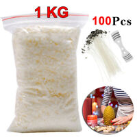 Long Pre Waxed Wicks Wax Soy Soya Flakes 100 Pure clean Burning Candle Making UK