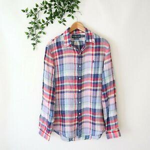 Ralph Lauren Men's Custom Fit Long Sleeve Collared Linen Shirt M Medium Plaid