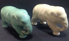 "2 RARE VINTAGE AUSTRALIAN POTTERY "" CASEY WARE "" ELEPHANT 1 GREEN & 1 CREAM"
