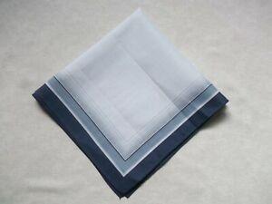 Mens Vintage Hankie Handkerchief Retro Pocket Square Blue Grey White 1970s