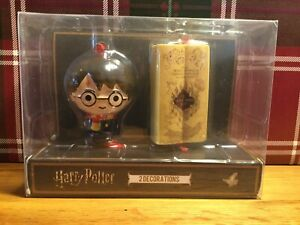 Harry Potter & Marauder's Map Hanging Christmas Decoration 2 Baubles New Boxed