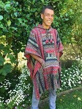 Brushed Gheri Cotton Stripe Indian Soft Poncho Fleece Hippy Festival Unisex