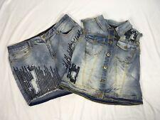 Ashley Stewart Size 14/16 Denim Jean Vest and Shorts Distressed Embellished NEW
